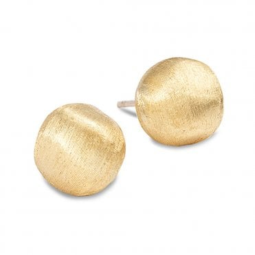 Africa 18ct Yellow Gold Large Domed Stud Earrings
