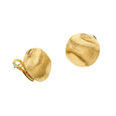 Africa 18ct Yellow Gold Nugget French Stud Earrings