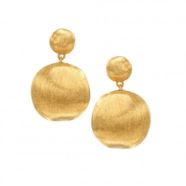 Africa 18ct Yellow Gold Two-Bead Drop Earrings