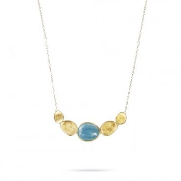 Marco Bicego Lunaria 18ct Yellow Gold & Aquamarine Five-Link Pendant