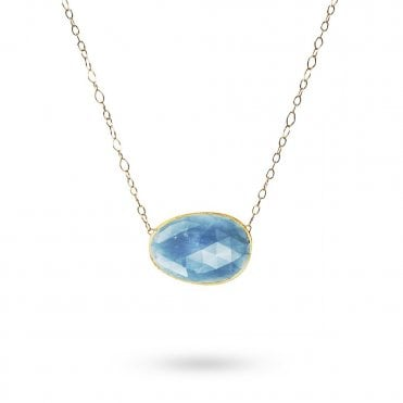 Lunaria 18ct Yellow Gold Oval Aquamarine Jewel Necklace