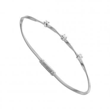 Marco Bicego Marrakech 18ct White Gold 3 Diamond Set Bangle