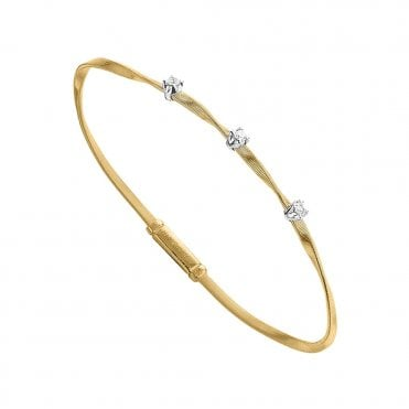 Marrakech 18ct Yellow Gold Three Diamond Set Bangle