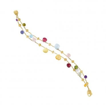 Paradise 18ct Yellow Gold & Mixed Stones Graduated Bracelet