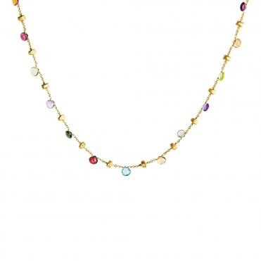 Paradise 18ct Yellow Gold Multi Coloured Stone Collar Necklace