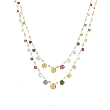 Paradise 18ct Yellow Gold Multi Coloured Stone Long Necklace