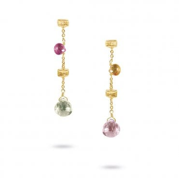 Paradise 18ct Yellow Gold Multicolour Jewel Drop Earrings