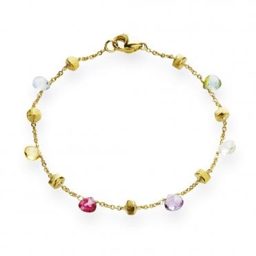 Paradise 18ct Yellow Gold Multicoloured Stone Drop Bracelet