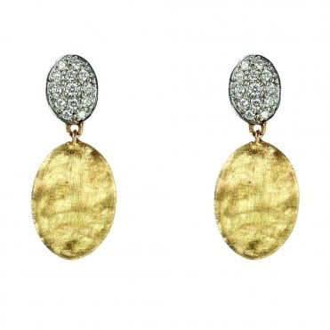 Siviglia 18ct Yellow Gold And Pave Diamond Set Oval Shaped Drop Earrings