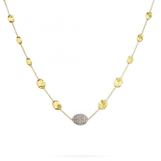 Marco Bicego Siviglia 18ct Yellow Gold Brush Finish Bead & Diamond Pave Necklace