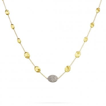Siviglia 18ct Yellow Gold Brush Finish Bead & Diamond Pave Necklace