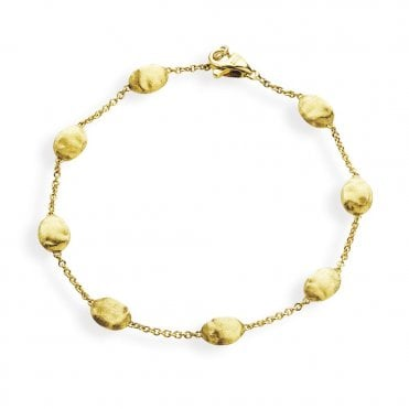 Marco Bicego Siviglia 18ct Yellow Gold Brush Finish Bead Link Bracelet