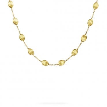 Siviglia 18ct Yellow Gold Brush Finish Bead Necklace