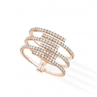 18ct Pink Gold 'Gatsby' 6 Rows Pave Set Diamond Ring