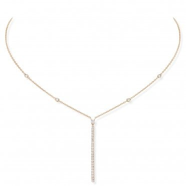 18ct Pink Gold 'Gatsby' Pave Set Vertical Bar Diamond Necklace