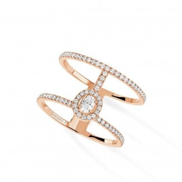 18ct Pink Gold Glam'Azone 2 Rows Pave Set Diamond Ring