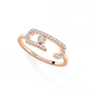 18ct Pink Gold Move Addiction Pave Diamond Ring