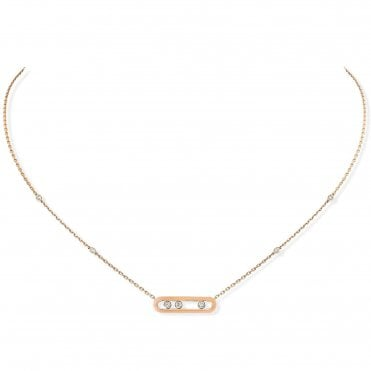 18ct Rose Gold 'Baby Move' Three Diamond Set Necklace