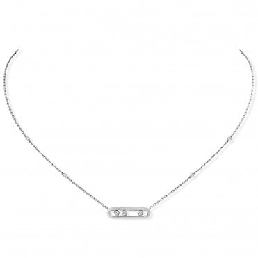 18ct White Gold 'Baby Move' Three Diamond Set Necklace