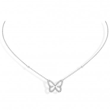 18ct White Gold 'Butterfly Ajoure S' Pave Set Diamond Necklace