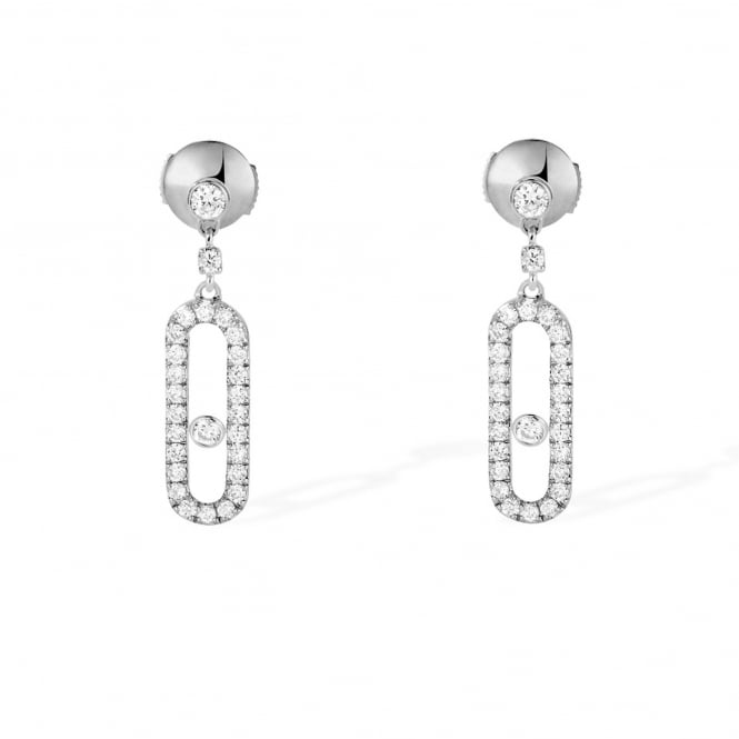 Messika Paris 18ct White Gold 'Dormeuses Uno' Pave Set Diamond Drop Earrings