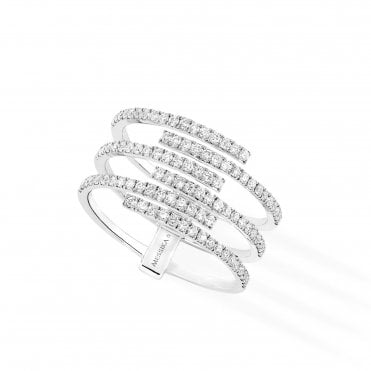 18ct White Gold 'Gatsby' 6 Rows Pave Set Diamond Ring