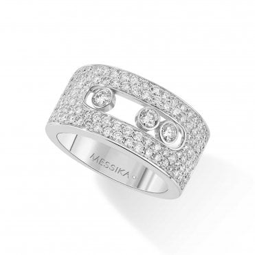 18ct White Gold 'Move Joaillerie' 3 Moving Diamonds & Rows of Pave Set Diamonds Ring