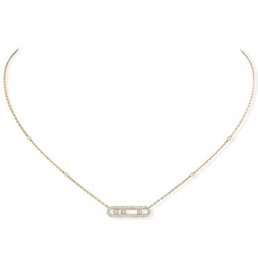 18ct Yellow Gold 'Baby Move' Three Diamond And Pave Set Diamond Necklace
