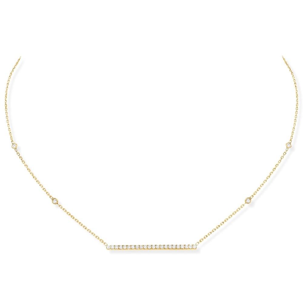 Horizontal Gold Bar Necklace With Diamond