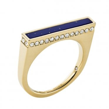 Brilliance Gold Tone Blue Lapis And Crystal Set Ring