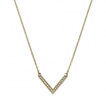 Brilliance Motifs Arrow Gold Color Crystal Set Necklace