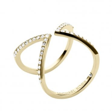 Brilliance Motifs Arrow Gold Color Crystal Set Ring