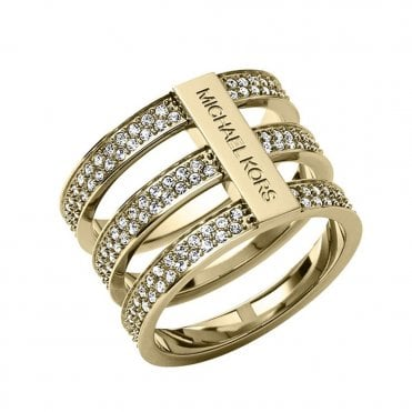 Brilliance Motifs Bar Gold Colour Crystal Set Ring