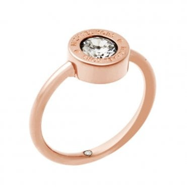 Michael Kors Brilliance Rose Gold Tone Crystal Set Ring