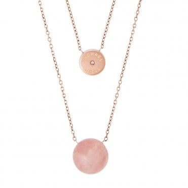 Michael Kors Brilliance Rose Tone Soft Pink Stone & Crystal Set Double Necklace