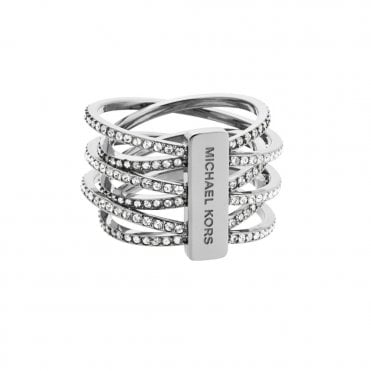 Michael Kors Brilliance Silver Tone Multi Strand Crystal Set Ring