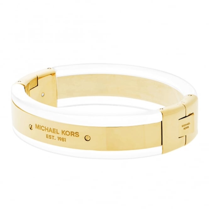 Michael Kors Logo Plaque Gold Tone & Clear Acetate Bangle