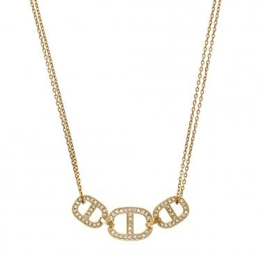 Maritime Gold Tone Crystal Set Necklace