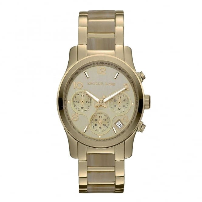 Michael Kors Runway Yellow PVD Champagne Dial Ladies Bracelet Watch