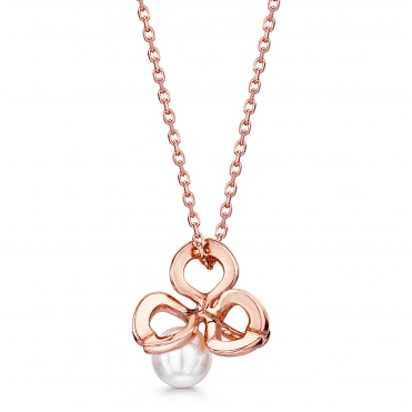 18ct Rose Gold Akoya Pearl Fortune Leaves Pendant