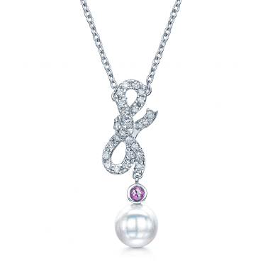 18ct White Gold Akoya Pearl & Diamond Forget Me Knot Pendant