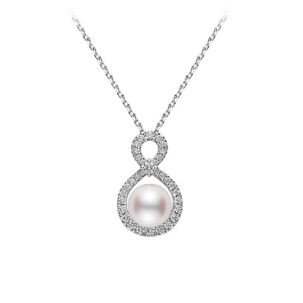 9231799b3e29b 18ct White Gold Akoya Pearl & Diamond Ruyi Pendant