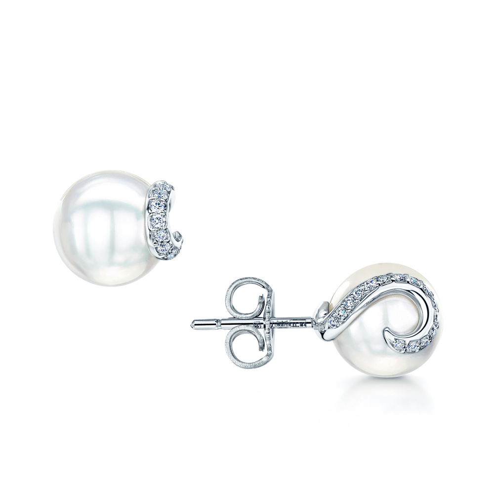 akoya mikimoto drop round pin white pearl diamond earrings