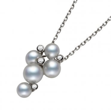 18ct White Gold Bubble Pearl & Diamond Pendant