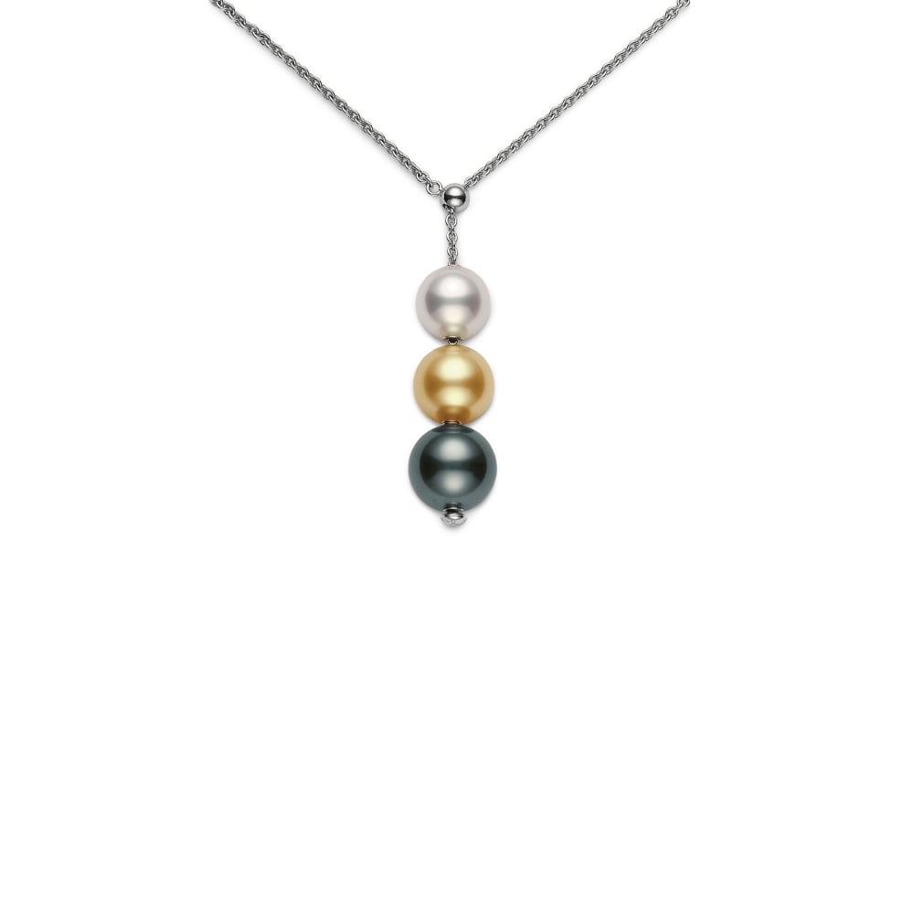 18ct White Gold Pearls In Motion Triple Pearl Necklace