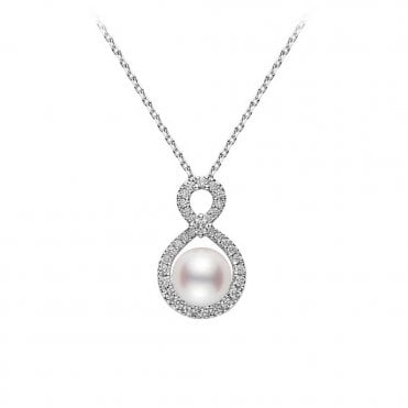 18ct White Gold Ruyi Akoya Pearl and Diamond Set Pendant