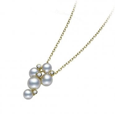 18ct Yellow Gold Bubble Pearl & Diamond Pendant