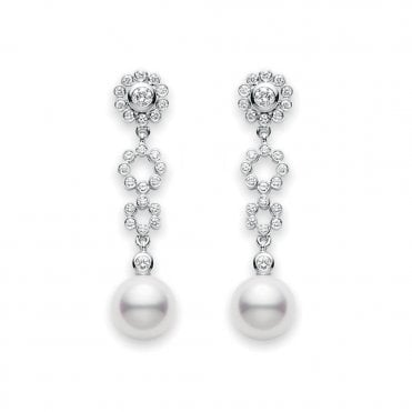 Akoya Pearl & Diamond Lace Collection Earrings