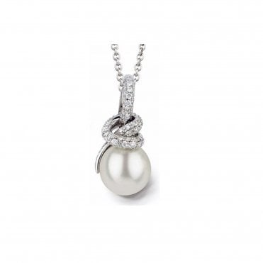 Knot 18ct White Gold South Sea & Pave Set Diamond Pendant