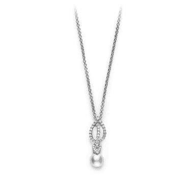 Laurel 18ct White Gold Full Diamond Set Pearl Pendant